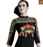 SUPERB MULTICOLOR EMBROIDERY WORK ON NECK AND NEW STYLE SLEEVES AND FROCK LOOK DESIGN ADDS CHARM TO THE TOP