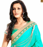 STYLISHBAZAAR SKY BLUE CREAM AND GREEN COLORED EMBROIDERED SARI WITH A GREEN AND CREAM COLOUR BLOUSE ANOB44