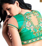 FROM STYLISH BAZAAR SKY BLUE CREAM AND GREEN COLORED EMBROIDERED SARI WITH A GREEN AND CREAM COLOUR BLOUSE ANOB44