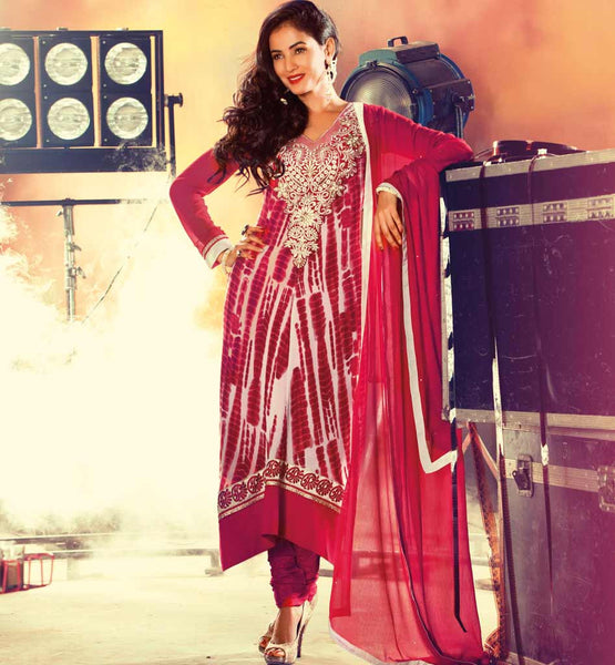 EMBROIDERED MAROON PARTY WEAR SALWAR KAMEEZ DRESS WITH CHIFFON CHUNRI