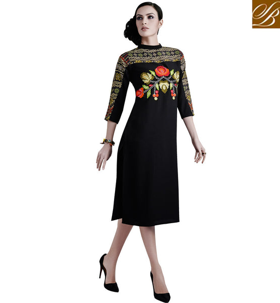 BUY BANDHGALA NECK STYLE KNEE HEIGHT KURTI TOP VDETC44
