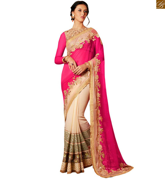 STYLISH BAZAAR DESIGNER PINK AND CREAM SAREE COMBINED WITH A LOVELY BLOUSE ANRF45