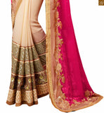 BROUGHT TO YOU BY STYLISH BAZAAR DESIGNER PINK AND CREAM SAREE COMBINED WITH A LOVELY BLOUSE ANRF45