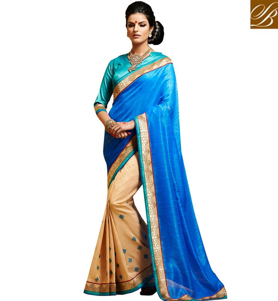 DRAPE SAREE FOR TEEN GIRLS WITH AWESOME STYLE OF BLOUSE BEAUTIFUL BLUE AND BEIGE BHAGALPURI SILK SARI WITH SKY-BLUE BLOUSE MATERIAL