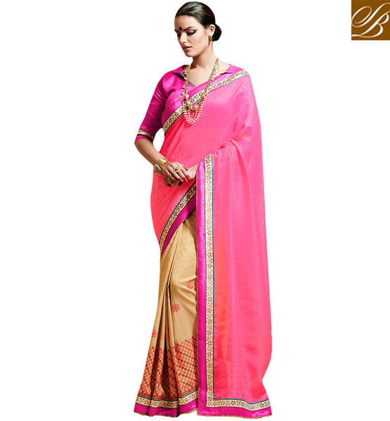 DRAPE SAREES PATTERNS AND DESIGNER STYLE OF BLOUSE FOR LADIES WONDERFUL PINK AND BEIGE BHAGALPURI SILK SARI WITH EXCITING BLOUSE MATERIAL