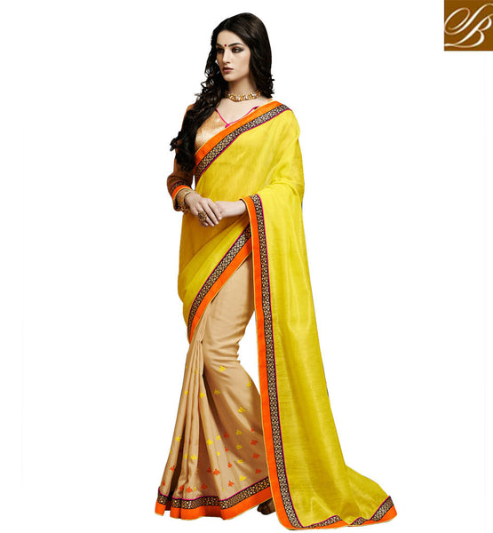INDIAN SAREE DESIGNS AND FABULOUS STYLE OF BLOUSE FOR WOMEN ELEGANT YELLOW AND BEIGE BHAGALPURI SILK SARI WITH COMPLEMENTING BLOUSE MATERIAL