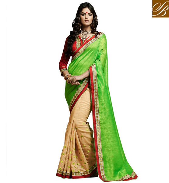 INDIAN SAREE FASHION AND GORGEOUS LATEST STYLE OF BLOUSE GORGEOUS PARROT GREEN AND BEIGE BHAGALPURI SILK SARI WITH BLOUSE MATERIAL