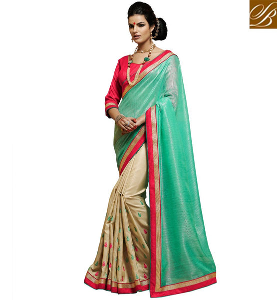 NEW SAREE DESIGNS AND BEAUTIFUL LOOKING STYLE OF BLOUSE GLAMOROUS GREEN AND BEIGE BHAGALPURI SILK FABRIC SAREE WITH PINK BLOUSE PIECE