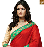 FINE-LOOKING RED AND BEIGE BHAGALPURI SILK SARI WITH BLOUSE MATERIAL EXCITING COLOR COMBINATION SARI WITH ELEGANT LACE BORDER AND EMBROIDERY ON SKIRT REGION