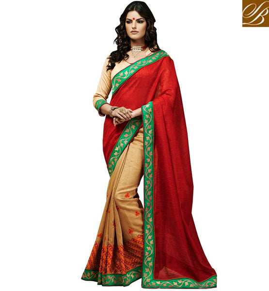 SAREE DRAPE WITH CUTE STYLE OF BLOUSE FOR FASHIONABLE LADIES FINE-LOOKING RED AND BEIGE BHAGALPURI SILK SARI WITH BLOUSE MATERIAL