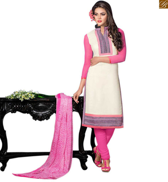 Designer punjabi suits boutique salwar kameez design for girls cream cotton high neck design salwar kameez with patch work with pink cotton churidar bottom Image