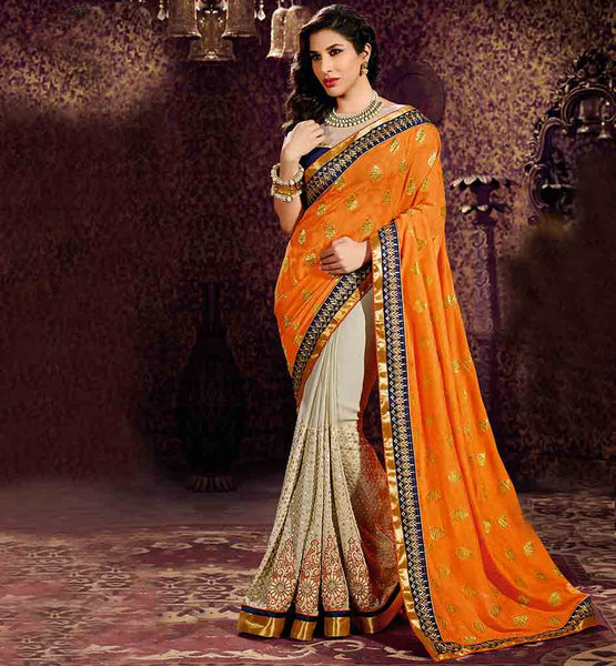 ONLINE INDIAN MOVIE CELEBRITY SAREES SHOPPING SOPHIE CHAUDHARY DUAL COLOR PREMIUM SARI BLOUSE DESIGN