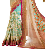 FROM THE HOUSE OF STYLISH BAZAAR SKY BLUE AND CREAM EMBROIDERED DESIGNER SARI MATCHED WITH NET GEORGETTE BLOUSE ANRF46
