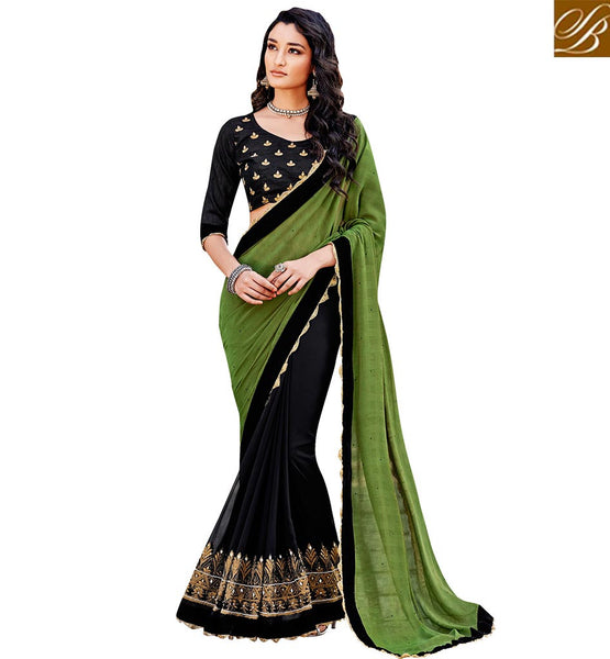 FROM THE HOUSE  OF STYLISH BAZAAR ELEGANT DESIGNER PARTY WEAR SARI BLOUSE DESIGN VDSPR46031