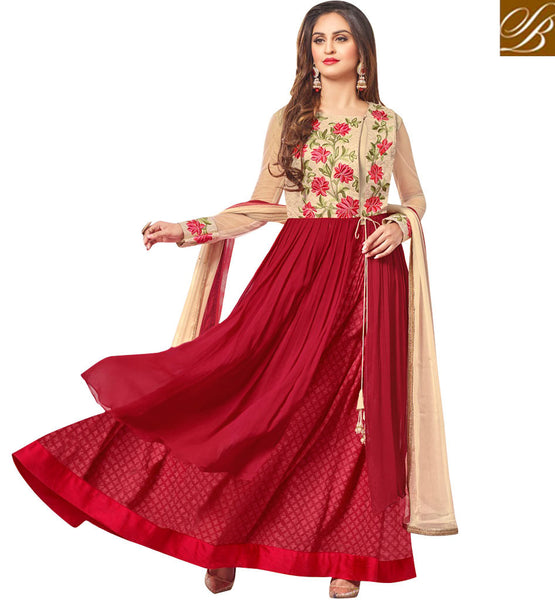 STYLISH BAZAAR STUNNING RED GEORGETTE TV ACTRESS KRYSTAL D'SOUZA PARTY WEAR DESIGNER SUIT   46424