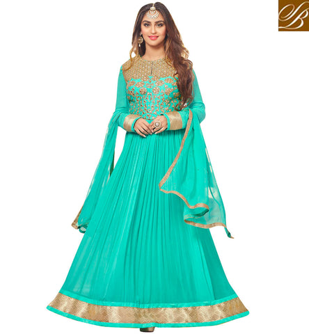 STYLISH BAZAAR BREATHE TAKING RAMA GEORGETTE WELL DESIGNED KRYSTAL D'SOUZA ANARKALI SALWAR SUIT 46426