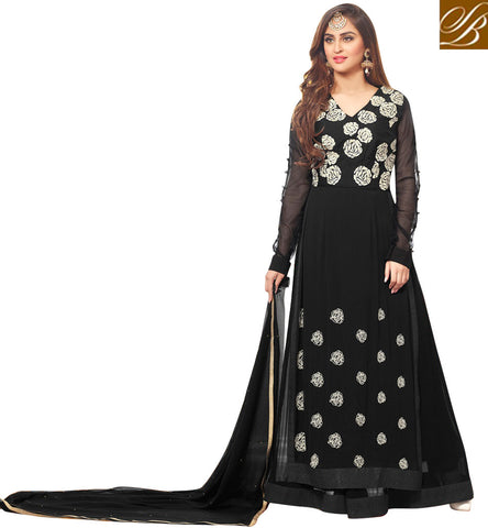STYLISH BAZAAR DAZZLING BLACK GEORGETTE PARTY WEAR KRYSTAL D'SOUZA LEHENGA STYLE SALWAR SUIT 46427