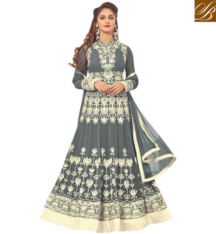 STYLISH BAZAAR ELEGANT GREY GEORGETTE DESIGNER KRYSTAL D'SOUZA PARTY WEAR EMBROIDERED ANARKALI SAUIT 46430