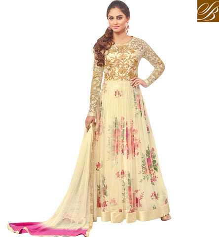 STYLISH BAZAAR SIGNIFICANT CREAM NET DESIGNER KRYSTAL D'SOUZA HAVING PRINTED LINING ANARKALI SUIT 46431