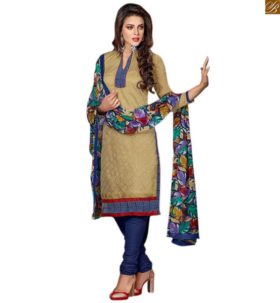 Indian salwar kameez designs formal dress patterns for ladies blue chiffon printed dupatta with border, patch work on neck line with piping and three fourth type sleeve with border Image