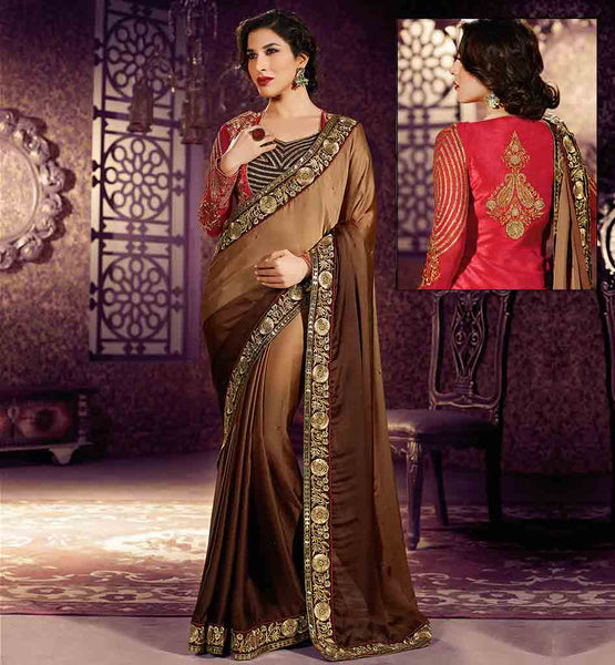 ONLINE WEDDING SAREES SHOPPING BOLLYWOOD STYLE SINGER AND BOLLYWOOD STAR SOPHIE CHAUDHARY SUPERB SARI BLOUSE WITH JACKET