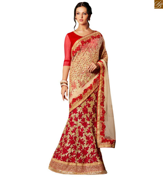 STYLISH BAZAAR DAZZLING CREAM DESIGNER SAREE WITH A MAROON BLOUSE ANRF47