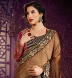 SINGER AND BOLLYWOOD STAR SOPHIE CHAUDHARY SUPERB SARI BLOUSE WITH JACKET AMAIRA COLLECTION SHADED SARI WITH RICH BORDER