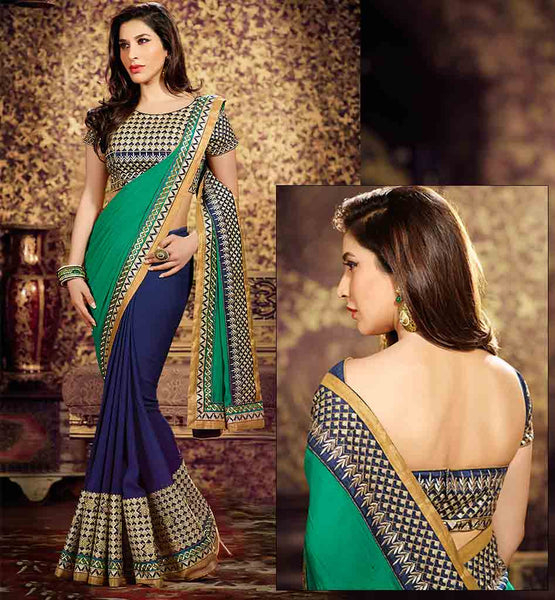 DESIGNER SAREES ONLINE SHOPPING BOLLYWOOD STYLE SOPHIE CHAUDHARY DUAL COLOR BEAUTIFUL SARI WITH RICH LOOK BLOUSE