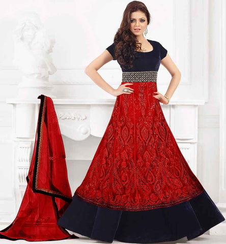 48002 Drashti dhami in red anarkali dress