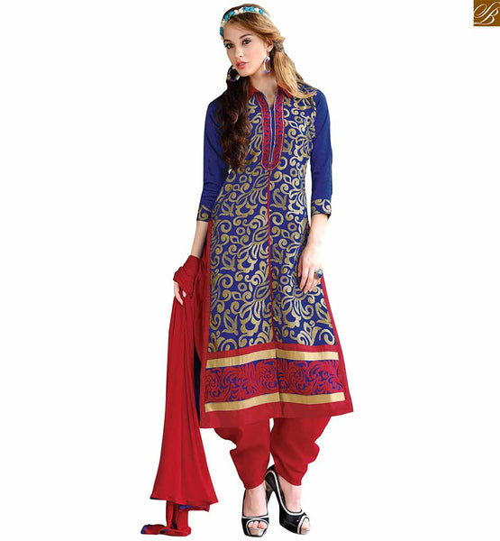 Straight suit neck design salwar kameez pattern online shopping blue chanderi shirts type collar dress with floral embroidery on neck line and red santoon bottom Image
