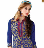 Attractive straight suit neck design salwar kameez pattern online shopping for daily wear blue chanderi shirts type collar dress with floral embroidery on neck line and red santoon bottom photo