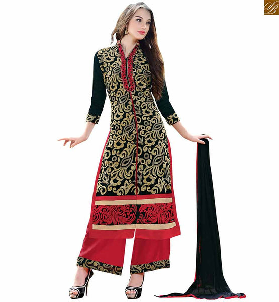 Simple punjabi suits shalwar kamiz design long dress for girls black chanderi three fourth type sleeves salwar kameez with border and red santoon bottom Image
