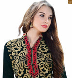 Beautiful simple punjabi suits shalwar kamiz design long dress for girls mad about fashion black chanderi three fourth type sleeves salwar kameez with border and red santoon bottom photo