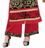 Black chanderi three fourth type sleeves salwar kameez with border and red santoon bottom pic