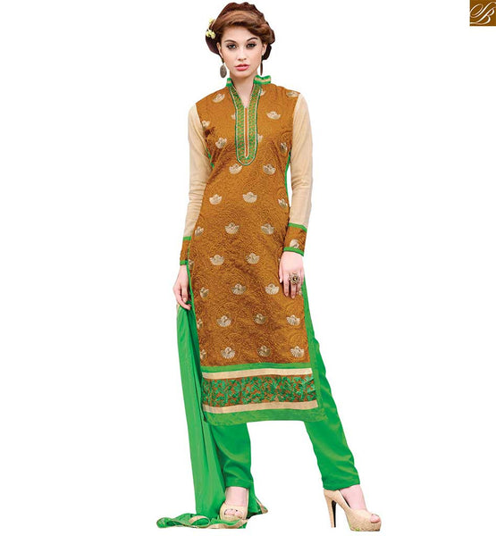 New salwar kameez designs 2015 best latest fashion dress online mustard chanderi high neck designer dress with embroidery patch work and green santoon bottom Image