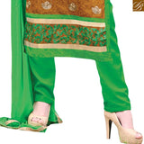 Mustard chanderi high neck designer dress with embroidery patch work and green santoon bottom Pic