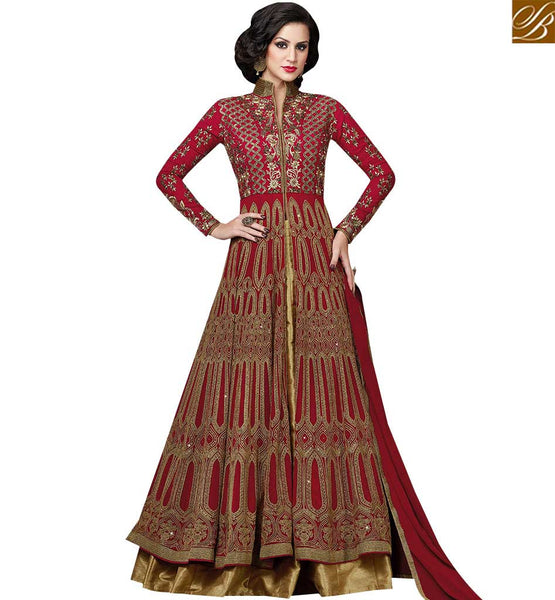 STYLISH BAZAAR ENTICING MAROON COLORED STRAIGHT CUT ANARKALI SUIT SLSWT4803