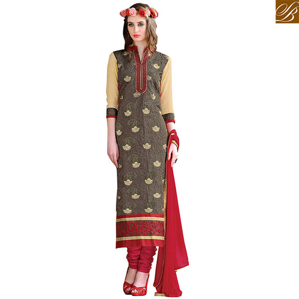 Punjabi suit boutique design of stylish salwar kameez pattern grey chanderi straight cut neck floral embroidered salwar kameez with pink santoon churidar bottom Image