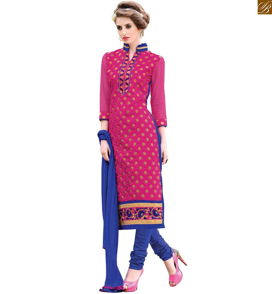 Punjabi suits neck design shalwar kameez stylish patterns online pink chanderi floral embroidered long salwar kameez with embroidery border work on lower part Image
