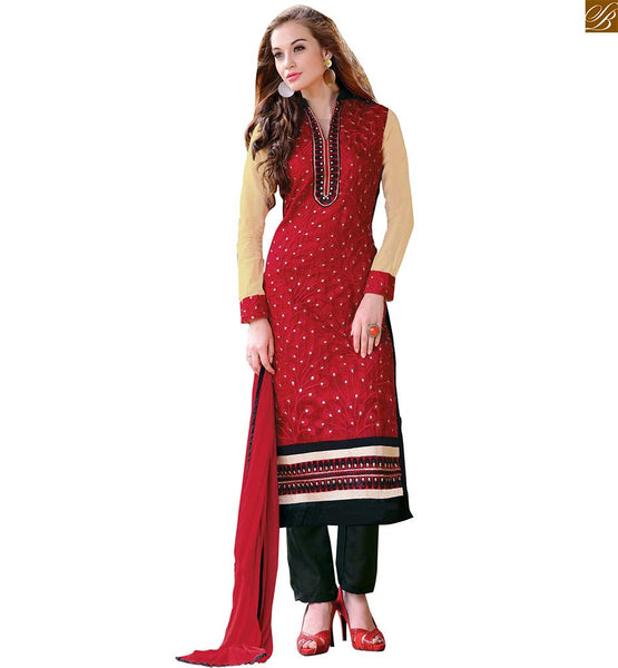 Neck designs for salwar kameez latest dress style of new fashion red chanderi long sleeves salwar kameez with border work and black santoon straight cut bottom Image