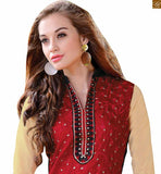 Majestic neck designs for salwar kameez latest dress style of new fashion for fashionable ladies around the gobe red chanderi long sleeves salwar kameez with border work and black santoon straight cut bottom Photo