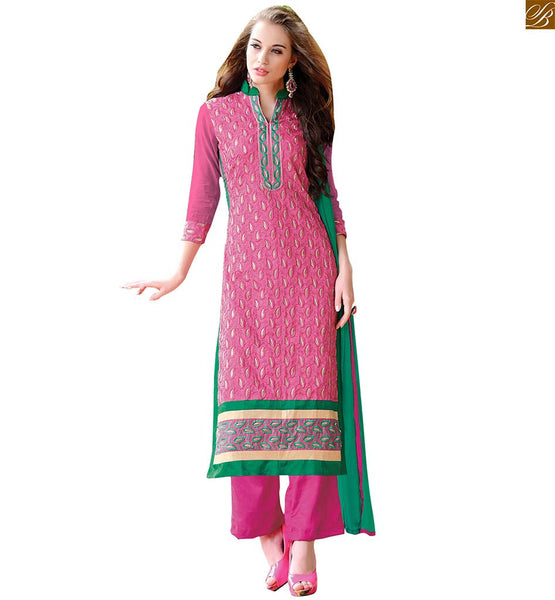 Long kameez neck designs of latest salwar suits for stitching pink chanderi three fourth type sleeves dress with embroidery work border and pink santoon bottom Image