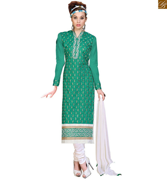Punjabi salwar suit boutique type designer salwar kameez dress green chanderi full floral embroidered long salwar kameez with off-white santoon churidar bottom Image