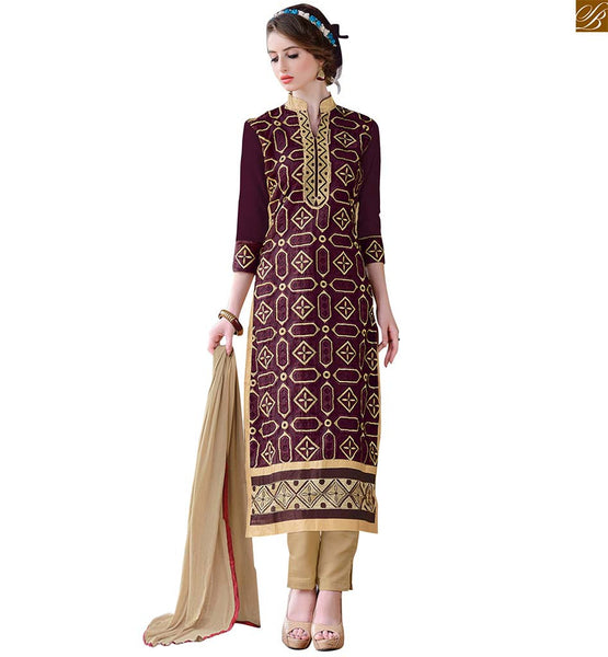 Latest salwar designs with long kameez style suit for stitching brown chanderi high neck designer salwar kameez with patch work and beige santoon cuted bottom Image