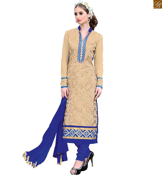 Punjabi outfits salwar kameez designs 2015 best ladies suit set cream chanderi embroidered salwar kameez with embroidered border line and blue santoon churidar bottom Image