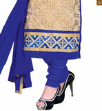 Cream chanderi embroidered salwar kameez with embroidered border line and blue santoon churidar bottom Pic