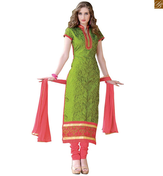 Kurta shalwar latest designer suits 2015 casual wear for females green chanderi full embroidered long salwar kameez high neck design and dusty-pink santoon bottom Image