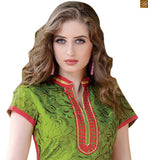 Decent looking kurta shalwar latest designer suits 2015 from among this seasons new arrivals. The best casual wear for females of new generation green chanderi full embroidered long salwar kameez high neck design and dusty-pink santoon bottom Photo
