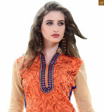 Awesome pakistani dress new dizain salwar kameez 2015 latest suit set for fashion loving ladies of india orange chanderi high neck floral embroidered salwar kameez with blue santoon churidar bottom Photo