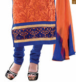Orange chanderi high neck floral embroidered salwar kameez with blue santoon churidar bottom Pic